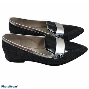 Boden Women's Tweed Patent Leather Flats Loafers